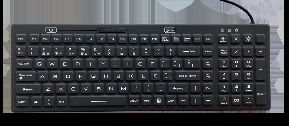 Industrial Silicon Full Size Backlit Keyboard Ikb106bl